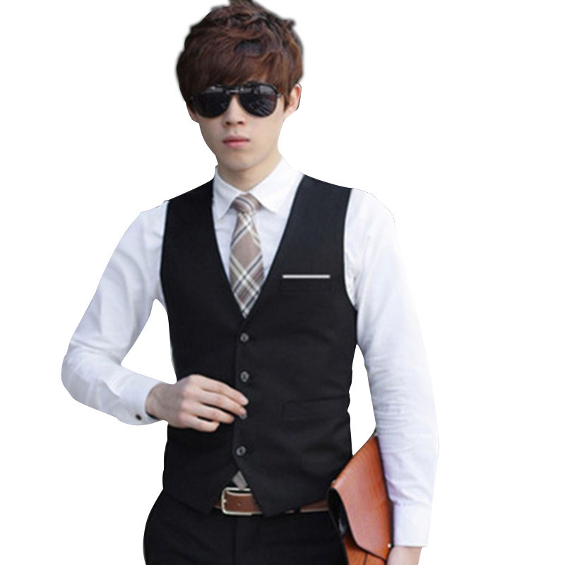 New Men Solid Color Waistcoat Slim Fit Single-breasted Business Casual Vest For Spring MV66