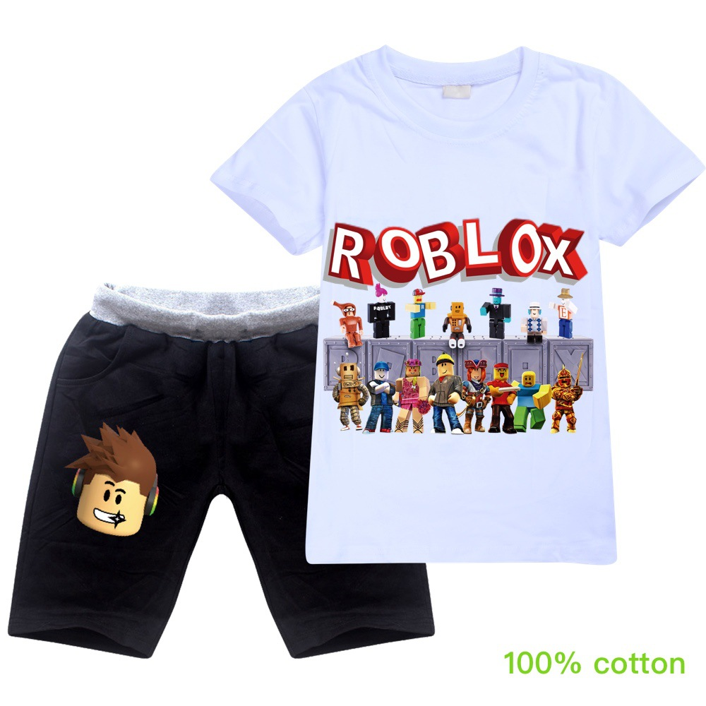 Robloxing Anime Toddler Boy Clothes Summer Cotton Short Sleeve T Shirt + Shorts Creeper Cosplay Costume Girls Tops Pants Set