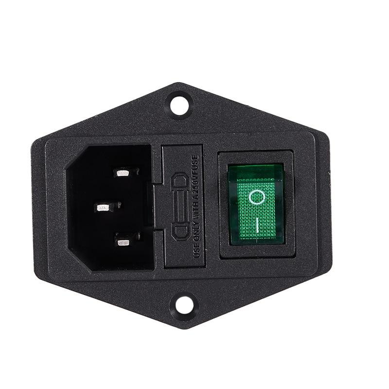 2 Pcs IEC320 C14 Inlet Green Lamp Switch Power Socket AC 250V