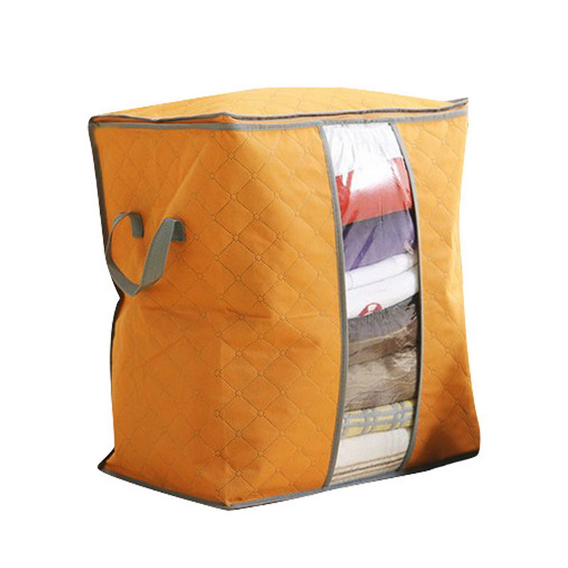 Non Woven Fabric Folding Storage Box Dirty Clothes Collecting Case With Zipper For Toys Quilt Storage Box Clear Window Organizer - Цвет: 45x50x30cm Orange