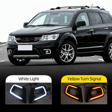 Car Flashing For Fiat Freemont Dodge Journey 2014 2016 LED DRL Daytime Running Light Daylight Signal lamp car Styling lights