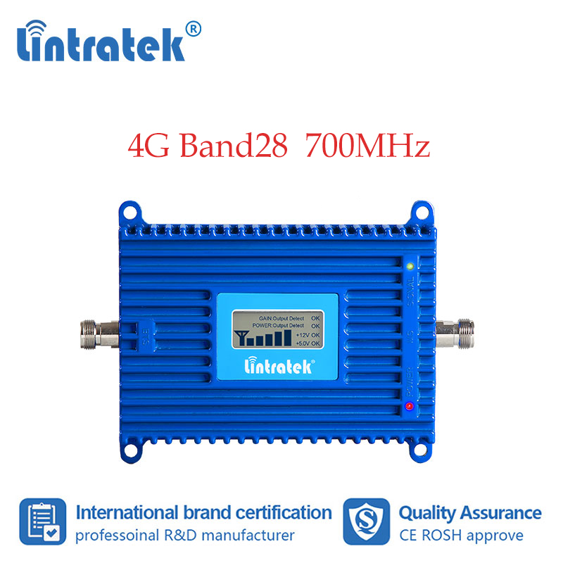 Lintratek 700 Mhz B28  Repeater 4G LTE Mobile Signal Amplifier LCD Cellular Booster 4g Network And Call UNMS Ss