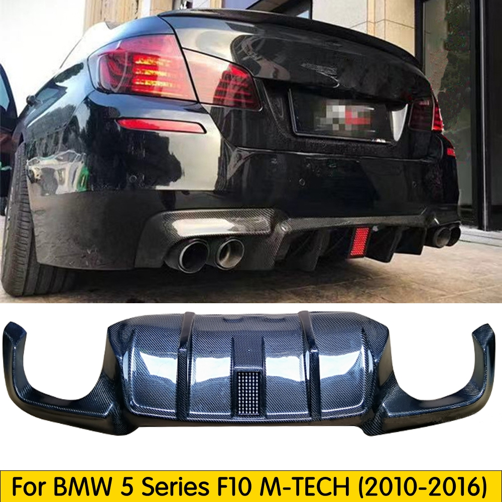 Flashlight Carbon fiber Rear Diffuser Fit For <font><b>BMW</b></font> 5 Series M5 <font><b>F10</b></font> M-TECH 2010-2016 Rear <font><b>Bumper</b></font> Diffuser Lip Spoiler With Led image