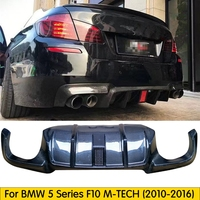 Flashlight Carbon fiber Rear Diffuser Fit For BMW 5 Series M5 F10 M TECH 2010 2016 Rear Bumper Diffuser Lip Spoiler With Led