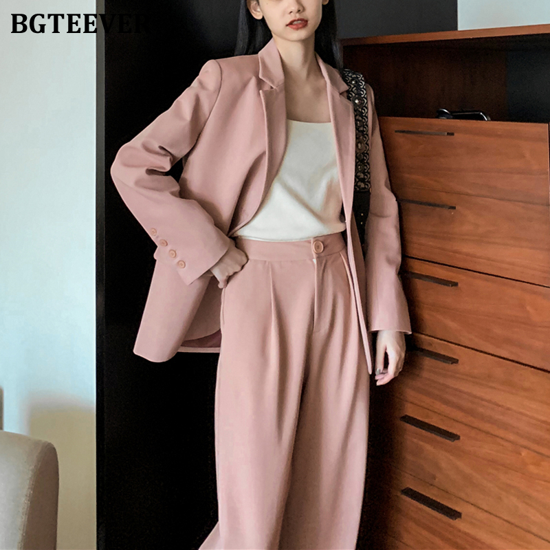 BGTEEVER Fashion Solid Women Blazer Suits Long Sleeve Single Breasted Blazer Pants Suit Office Ladies Two-piece Blazer Sets 2020