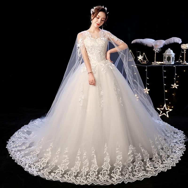 Elelgant Court Train Lace Wedding Dress 2019 New Princess Vintage Bride Dress Plus Szie Vestidos De Casamento Do Trem Da Corte