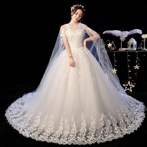 Elelgant Court Train Lace Wedding Dress 2019 New Princess Vintage Bride Dress Plus Szie Vestidos De Casamento Do Trem Da Corte Pakistan