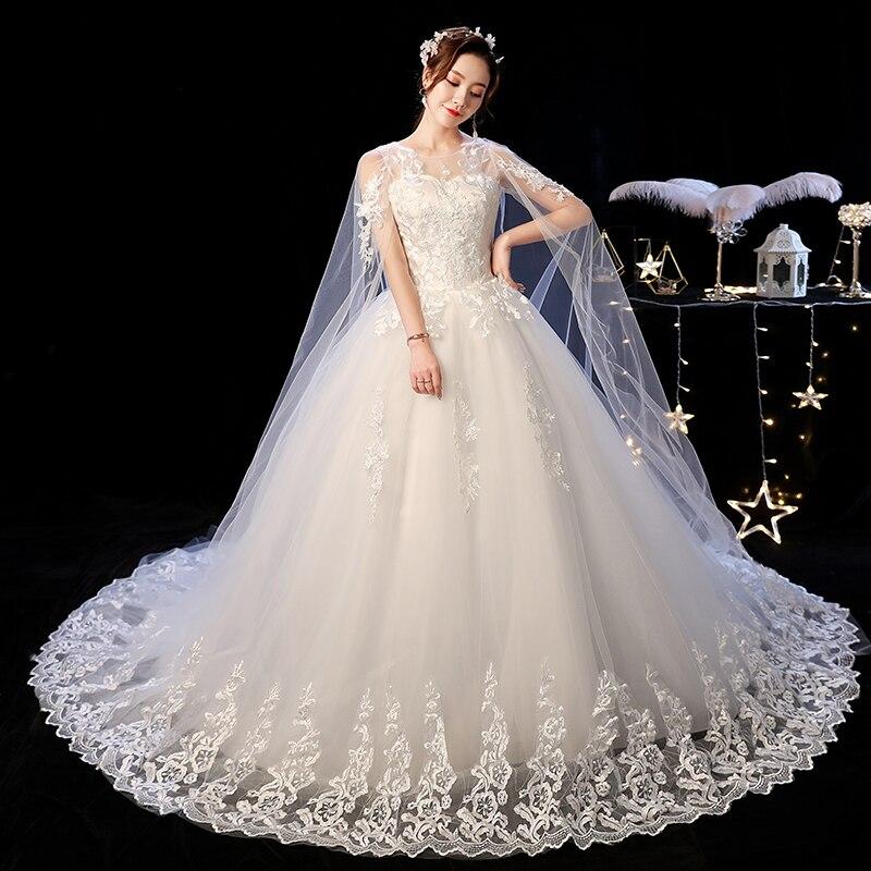 Elelgant Court Train dentelle robe De mariée 2019 nouvelle princesse Vintage robe De mariée Plus Szie Vestidos De Casamento Do Trem Da Corte