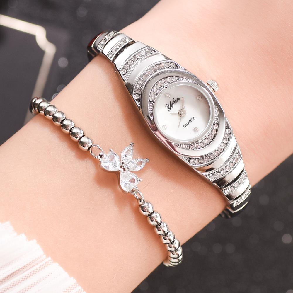 2pcs/set Fashion Women Watch Delicate Rhinestone Silver Watch Bracelet For Women Luxury Ladies Wrist Watch Relogio Feminino