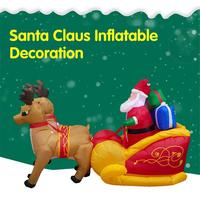 Christmas Double Deer Cart Inflatable Christmas Santa Claus with Gifts Double Deer Ride Sleigh Outdoor Lawn Yard Decoration