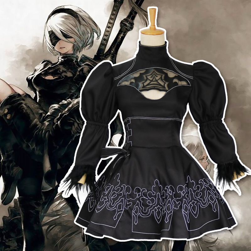 Nier Automata Yorha 2B Game Anime <font><b>Cosplay</b></font> Costume Suit Women Disguise Uniform Set Girls Fancy Party Black <font><b>Lolita</b></font> Lace <font><b>Sexy</b></font> Dress image