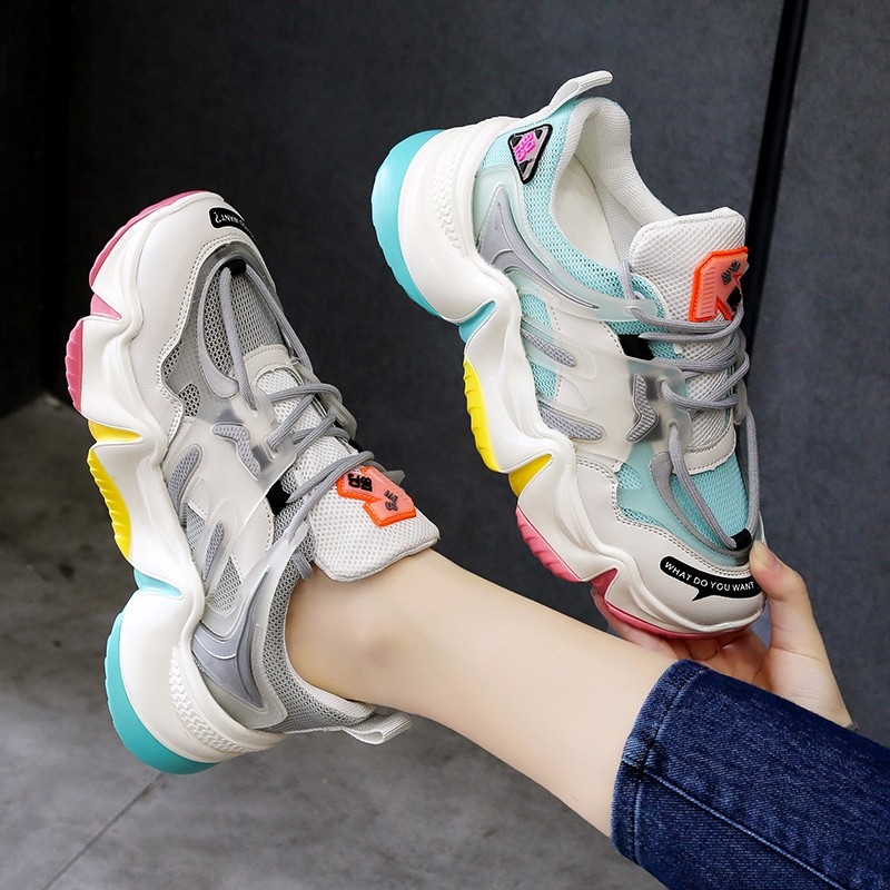 2020 Hot Summer Women Sneakers Vulcanize Breathable Rainbow Color Fashion Casuals Height Increasing Female Chunky Ladies Shoe 5