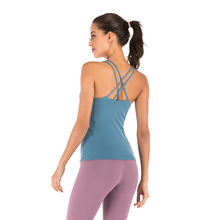Yoga Top Sports Vest Bra Shirt Women Fitnes with Padded Crop Tank Tops Running Push Up Active Gym Walking Sport Wear Mvsyo