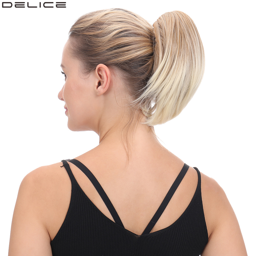 Delice 8inch Women's Short Straight Ponytail Clip In Claw Little Ponytails High Temperature Fiber Synthetic Hairpieces