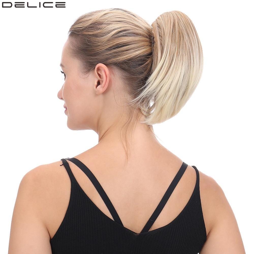 Женский короткий прямой хвост Delice, 8 дюймов, с зажимом в когтях, маленькие конские хвосты, высокотемпературные волоконные синтетические шин...