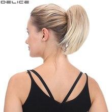 Delice 8 polegada feminino curto em linha reta rabo de cavalo clipe na garra pouco rabo de cavalo fibra de alta temperatura sintético hairpieces