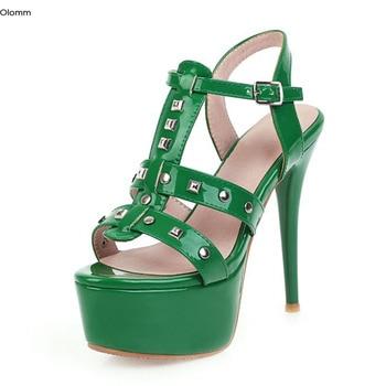 Olomm Hot Handmade Women Sandals Sexy Stiletto Heels Sandals Nice Open Toe Gorgeous 4 Colors Party Shoes Women US Plus Size 3-16