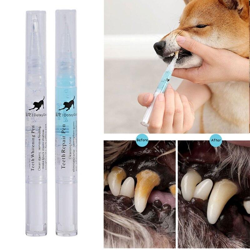 Pet Teeth Cleaning Kit, Pet Beauty Toothbrush Dog Cat Tartar Dental Stone Cleaning Pen, 3ml