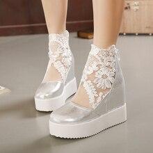 Прямая поставка Женский, на платформе, модные, милые, кружевные, римские туфли, женские туфли на танкетке, белые туфли-лодочки на молнии, босоножки на высоком каблуке, GZWB150