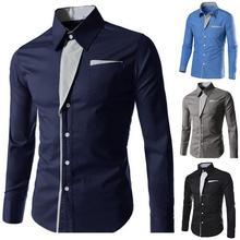 Мужская рубашка, повседневная, мужская, длинный рукав, в полоску, контрастная, с отворотом, на пуговицах, рубашка, деловая, повседневная, тонкая, кардиган, блузка, топ, мускулистый Тройник