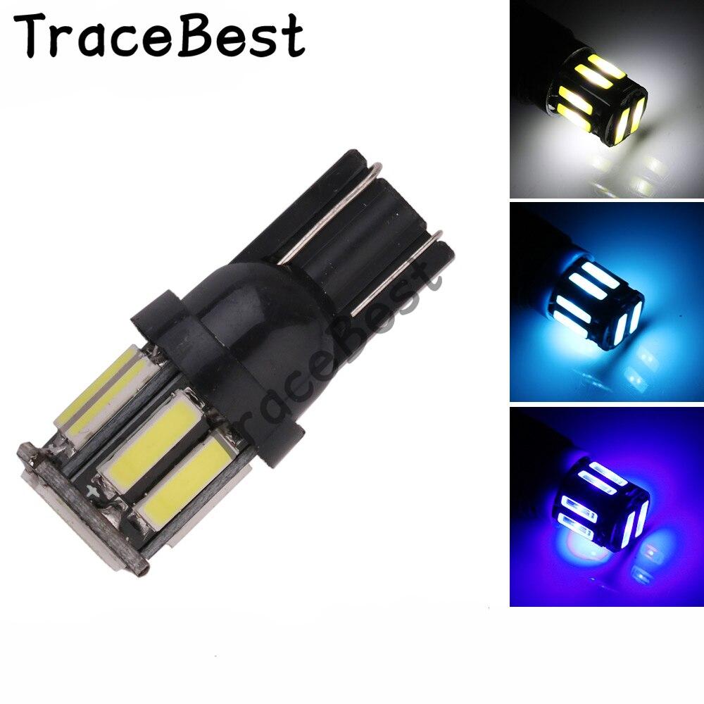 4 pces w5w 10-7020 smd carro t10 led 194 168 cunha substituição reversa instrumento painel lâmpada branco azul lâmpadas para luzes de afastamento