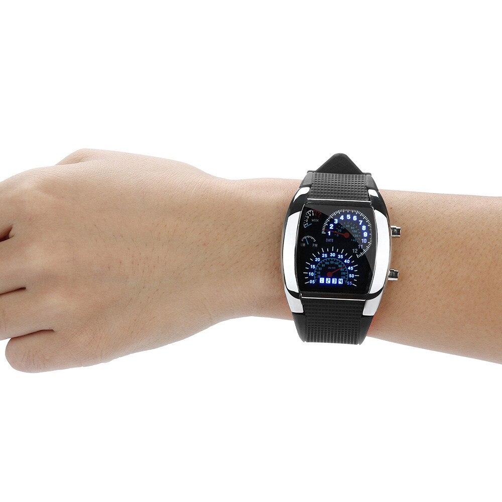 Watch Sports Speedometer Led-Light Fashion Luxury Men's Car-Dial-Meter Flash-Turbo