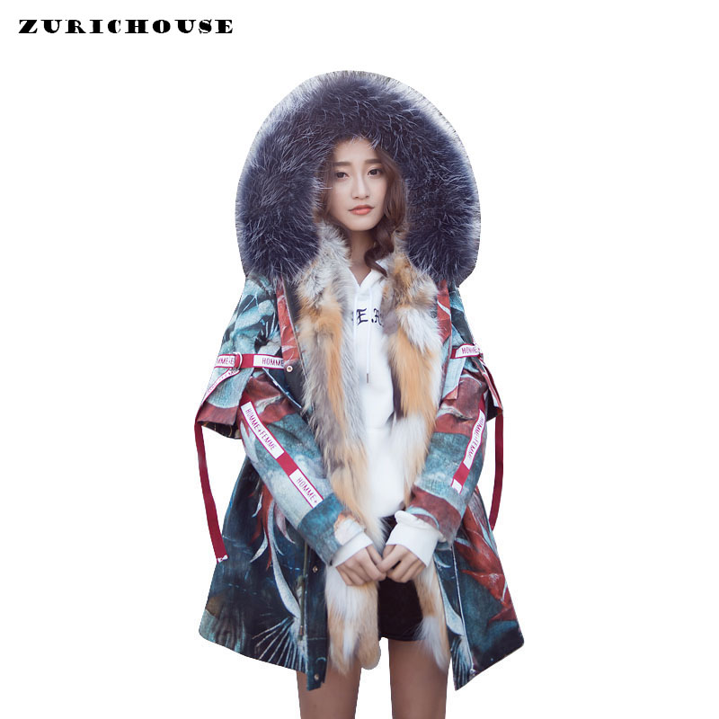 ZURICHOUSE 2020 Real Fur Parka Women Long Down Jacket Winter Luxury Natural Fox Fur Collar Hooded Removable Liner Down Coats