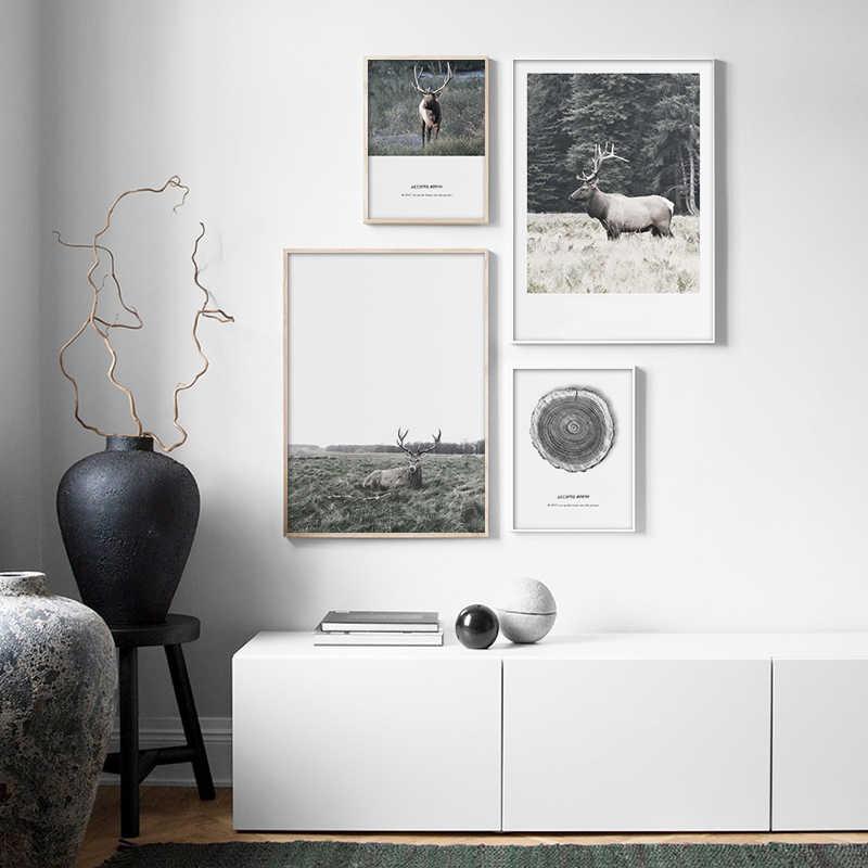Danimarca Paesaggio della Tela di canapa Dipinti di Cervo per il Pascolo Poster Nordic Stampe di Arte Della Parete Della Parete Picture for Living Room Decoration