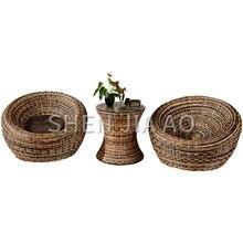 1 pieza de silla de ratán tejida a mano de moda Silla de ratán Vintage decoración de sala de estar a prueba de insectos y humedad- prueba de silla de mimbre