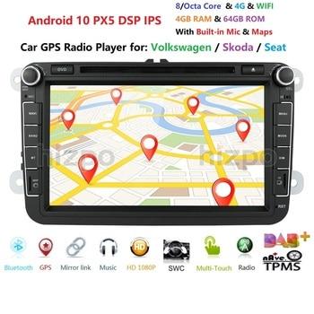 4G+64G Android 10 8/Octa-Core 2DIN CAR DVD PLAYER For Seat Altea Leon Toledo Passat golf 5 6 touran passat Radio stere