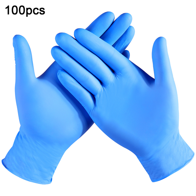 100pcs Disposable Latex Gloves Blue Wear-Resistant Durable Nitrile Rubber Gloves Household Cleaning Experiment Catering Gloves