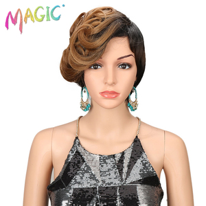 MAGIC Synthetic Wigs For Women Wave 10 Inch Womens Wigs Short Synthetic Hair Blonde Wig Heat Resistant Hair Free Shipping(China)