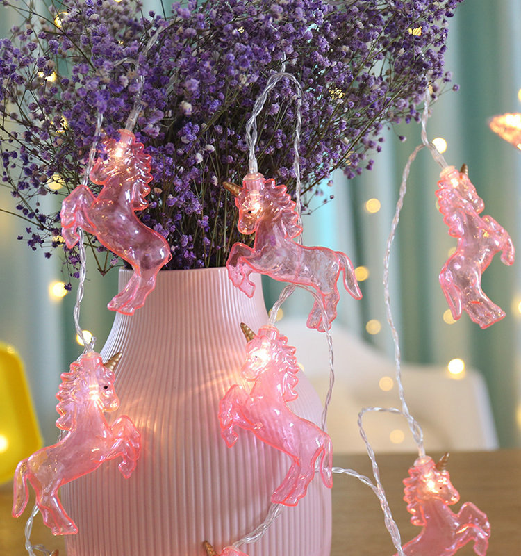 Led Fairy Pink Running Unicorn Horse Battery Usb String Lights 3M Led Decoration For Christmas Garland On The Window New Year