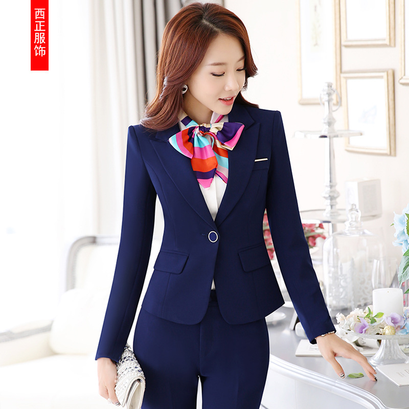Korean-style Double Layer Thick Long Sleeve Hotel Work Clothes Fashion Annual General Meeting WOMEN'S Suit Business WOMEN'S Suit