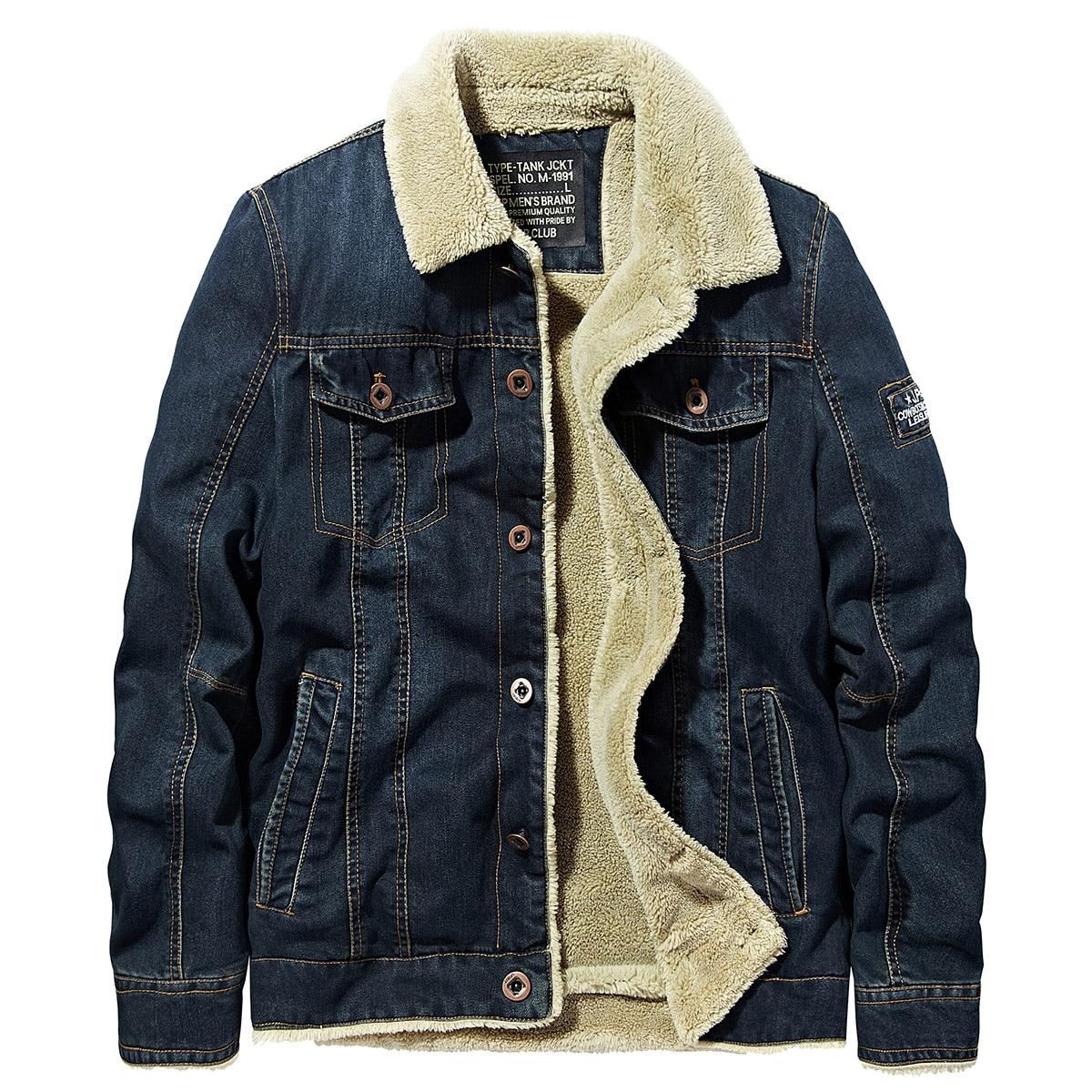 Winter Thick Men Jacket Jeans Casual Padded Streetwear Vintage Denim Coat Korean Military Japanese Men Jacket Tactical AA50JK