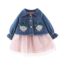 New Autumn Baby Girl Clothes 0-3T Pocket Decoration Girls Sets Denim Jacket + Princess Style Dress 2 Pieces Childrens