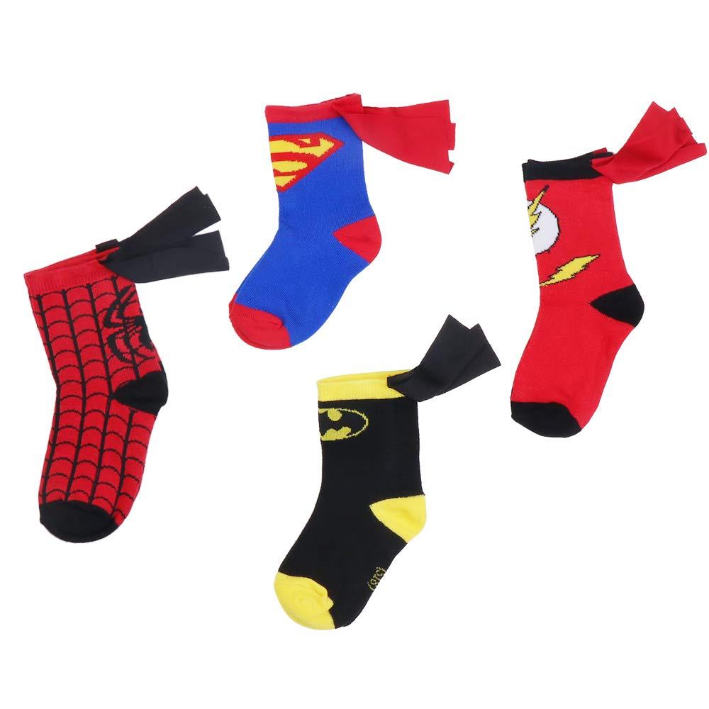 4-6 Years Old Kids Socks Cartoon Superman Spiderman Batman The Flash Design Children Cotton Socks Unisex Boys Girls