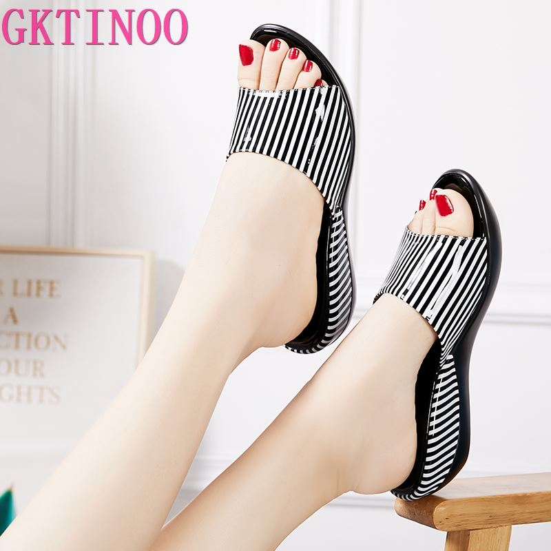 GKTINOO Women Slipper's 2020 Ladies Summer Slippers Shoes Women Wedges Heels Striped Fashion Summer Shoes Geuine Leather