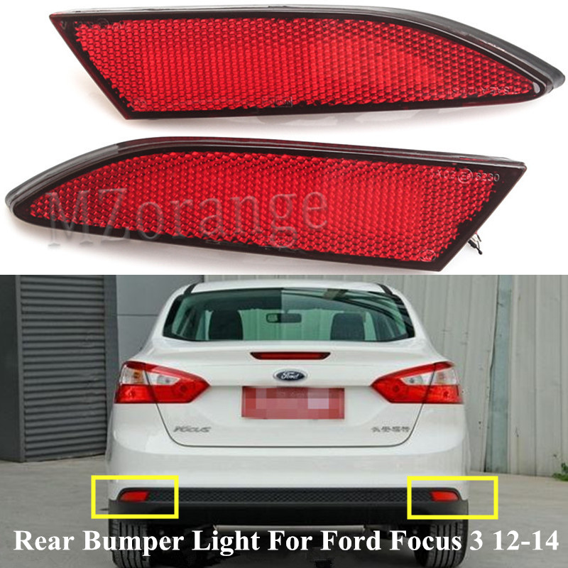 Rear Bumper Mounted Reflector One Pair for 2015 2016 2017 Focus Hatchback