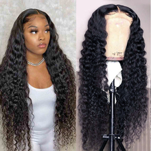 Wig Lace-Frontal-Closure Human-Hair Deep-Wave Transparent Curly Black Women