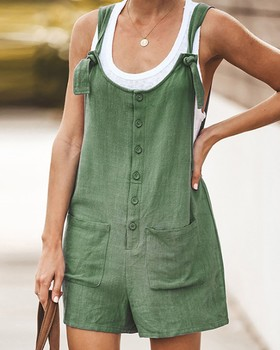Women Short Rompers 2020 New Ladies Summer Loose Shorts Cotton Linen Button Jumpsuit Playsuit With Pockets Casual Tracksuit 1
