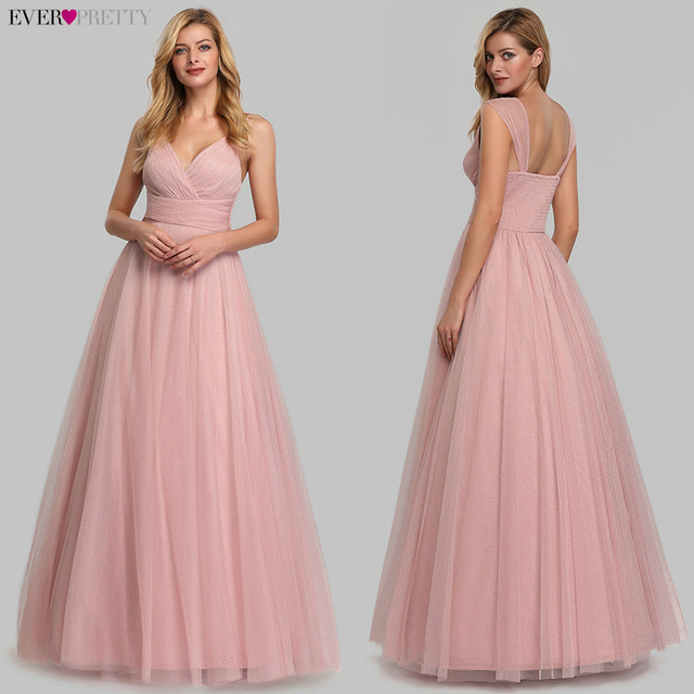 Spakle Prom Dresses Long Ever Pretty A-Line V-Neck Ruched Elegant Cheap Tulle Evening Party Gowns Vestidos Largos Fiesta 2020 2