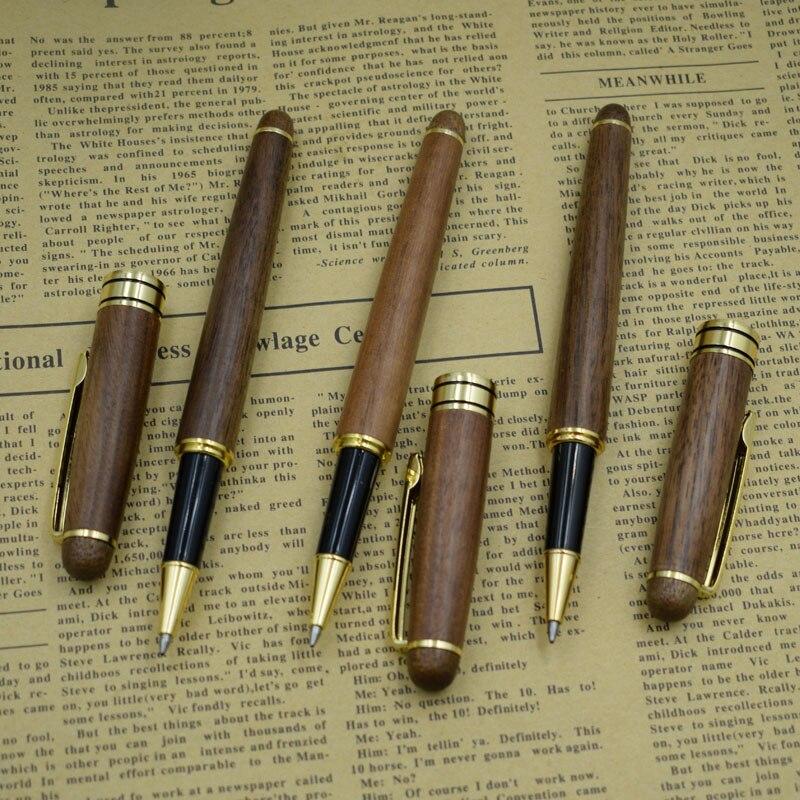 (12 Pieces/Lot) Handmade Nature Walnut Wood Gel Pen Wholesale 0.5 mm Black Refill Ink ink Pens Office Supplies Joy Corner