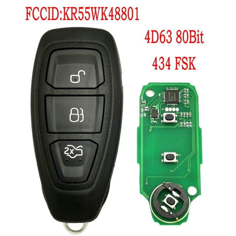 Автомобильный пульт дистанционного управления Datong World для Ford Focus Fiesta Mondeo C-Max Kuga 2011 20012 2013 2014 2015 KR55WK48801 4D63 80Bit 434 FSK Key