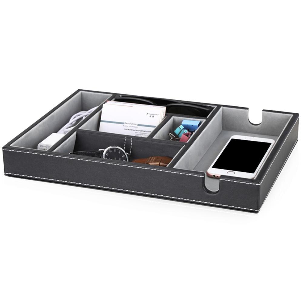 PU cuir haute qualité boîte de rangement téléphone portable câble de chargement plateau de support fournitures de bureau accessoires étui