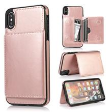 For iPhone 6 6S 7 8 Plus XR Xs Max Retro PU Leather Case  Card Slot Phone Holder 11 2019 Pro Bag