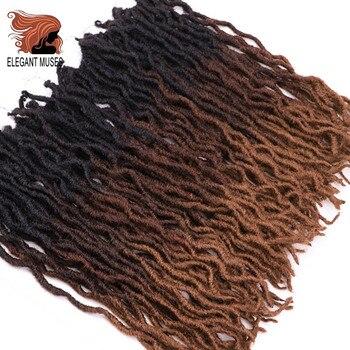 Eleganckie muzy bogini Nu Locs miękkie szydełkowe włosy warkocze 12 18 Cal Faux Locs kręcone włosy syntetyczne Pre Loop szydełkowe plecionki