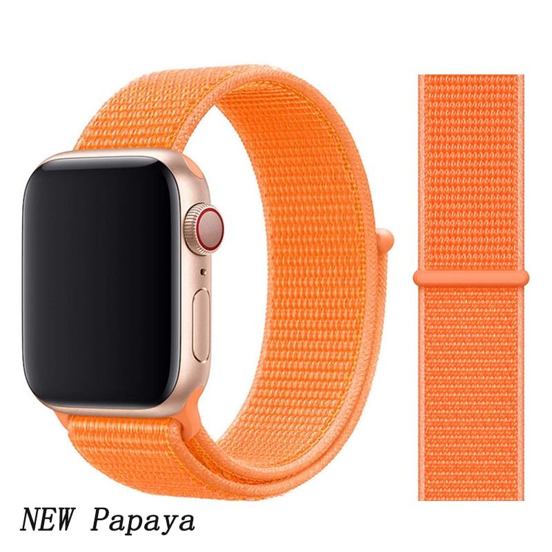 Спортивная петля ремешок apple watch band 42 мм 38 мм apple watch 4 3 band iwatch band 44 мм 40 мм correa pulseira 42 44 нейлоновый ремешок для часов - Цвет ремешка: New Papaya 1