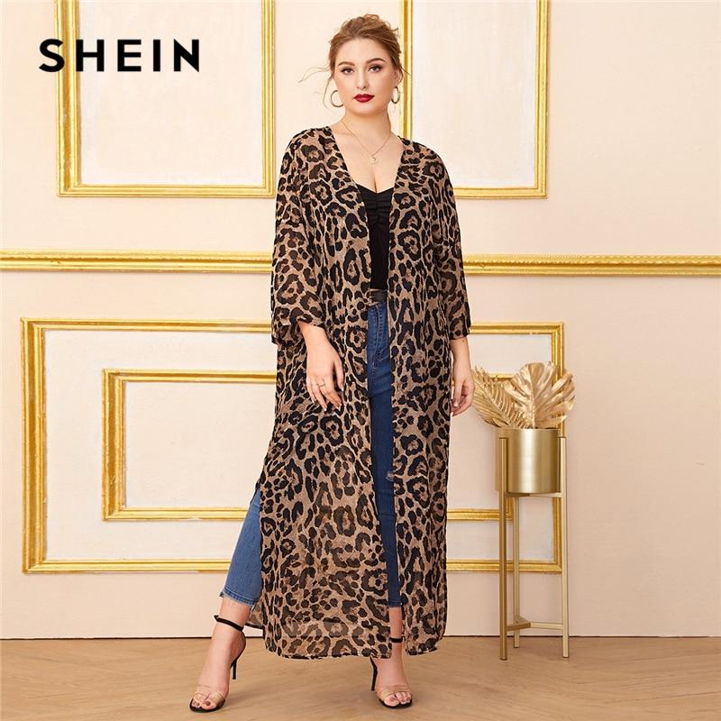 SHEIN Plus Size Multicolor Split Side Leopard Print Chiffon Kimono Women Summer Autumn Long Sleeve Casual Longline Kimonos