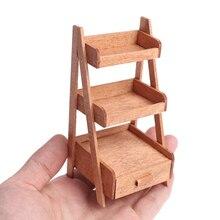 1:12 domek dla lalek drewniana półka stojak na kwiaty Mini lalka meble domowe Model imitacja wyposażenia akcesoria 1Pc